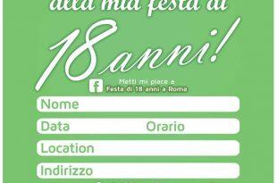 biglietto d'invito verde da condividere su facebook